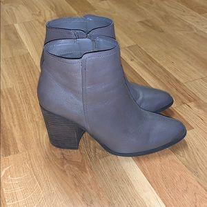Gray Block Heel Booties